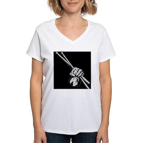 Drummers Rock! Women's V-Neck T-Shirt