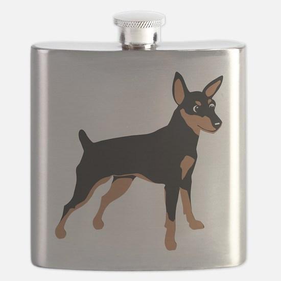 Cartoon Miniature Pinscher 1 Flask
