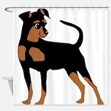 Cartoon Miniature Pinscher 2 Shower Curtain