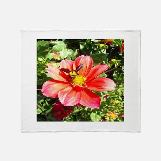 Bee On Flower Throw Blanket