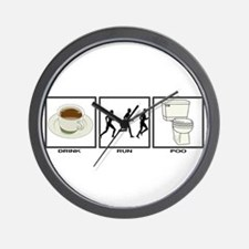 COFFEE - RUN - POO Wall Clock