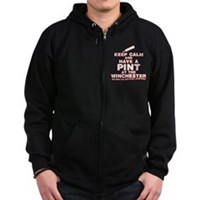 Keep Calm And Have A Pint Zip Hoodie (dark)