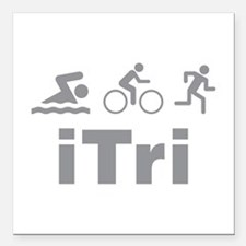 "iTri Square Car Magnet 3"" x 3"""