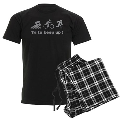 Tri to keep up ! Men's Dark Pajamas