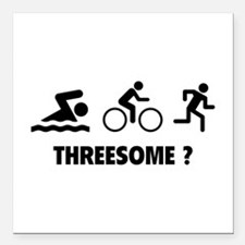 "Threesome ? Square Car Magnet 3"" x 3"""