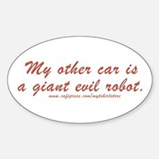Giant evil robot Oval Decal