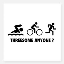 "Threesome Anyone ? Square Car Magnet 3"" x 3"""