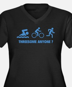 Threesome Anyone ? Women's Plus Size V-Neck Dark T
