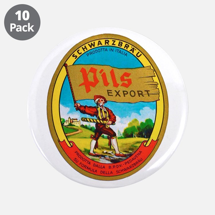 """Italy Beer Label 2 3.5"""" Button (10 pack)"""