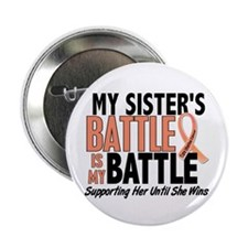 """My Battle Too Uterine Cancer 2.25"""" Button (10 pack"""