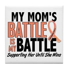 My Battle Too Uterine Cancer Tile Coaster