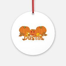 Halloween Pumpkin Dustin Ornament (Round)