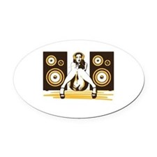Music Please Oval Car Magnet