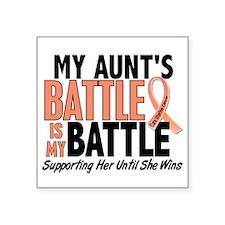 "My Battle Too Uterine Cancer Square Sticker 3"" x 3"