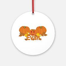 Halloween Pumpkin Evan Ornament (Round)