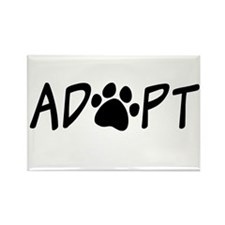 Adopt Paw Print Rectangle Magnet