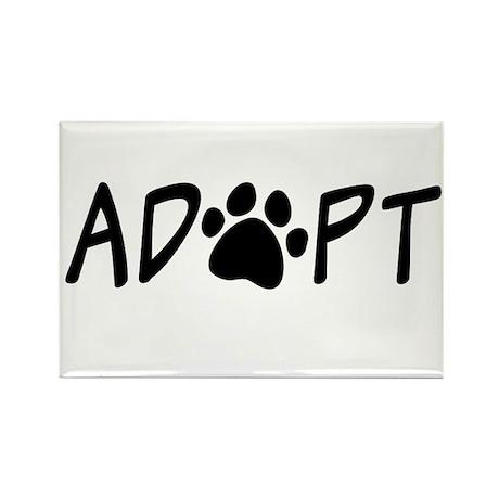 Adopt Paw Print Rectangle Magnet