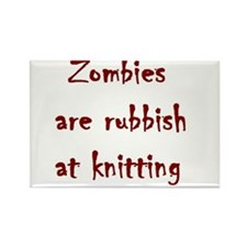 zombies are rubbish at knitting Rectangle Magnet