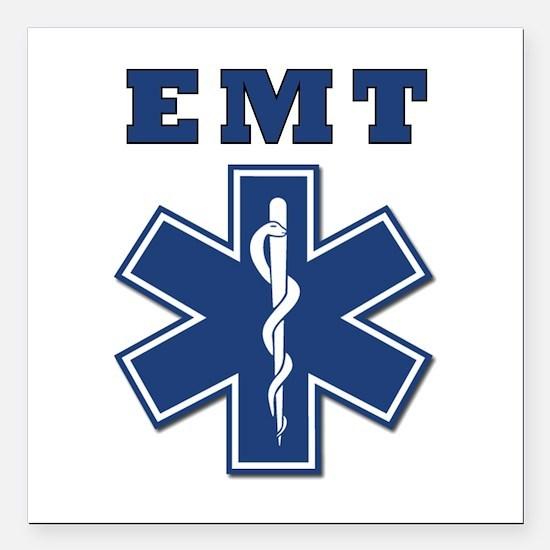 """EMT Blue Star Of Life* Square Car Magnet 3"""" x"""