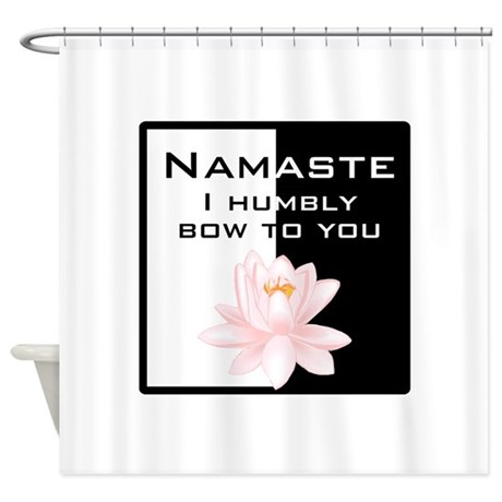 Namaste in Ink Black Shower Curtain
