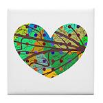 Branches Color Mix Heart Tile Coaster