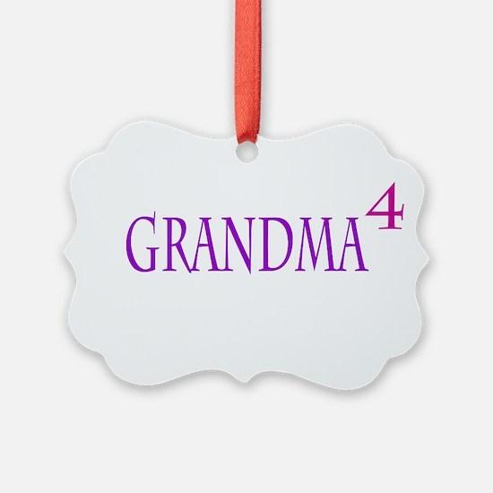 Grandma of Four Picture Ornament