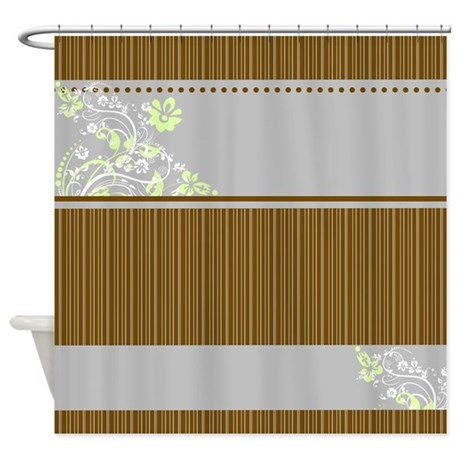 brown and blue striped floral shower curtain by