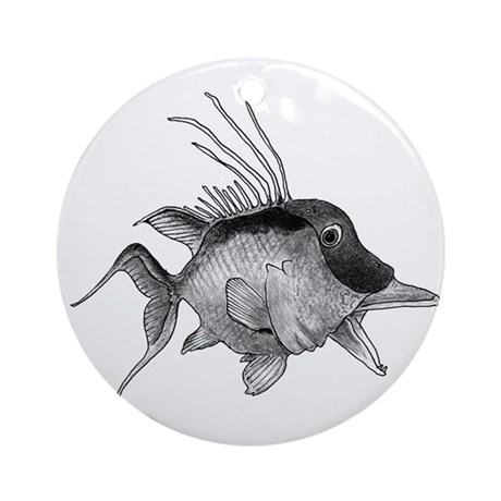 Black and White Hogfish Ornament (Round)