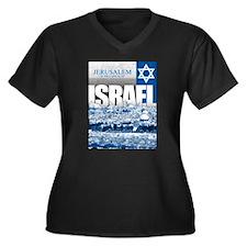 Jerusalem, Israel Women's Plus Size V-Neck Dark T-