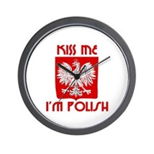 Kiss me, I'm Polish -  Wall Clock