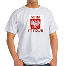 Kiss me, I'm Polish -  Ash Grey T-Shirt