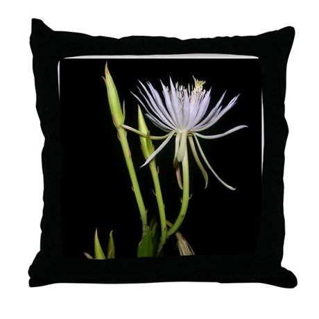 Night Blooming Beauty Throw Pillow
