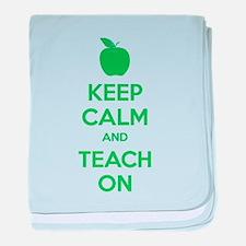 Keep calm and teach on baby blanket