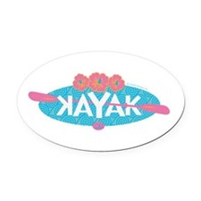 Cute Kayaking Oval Car Magnet