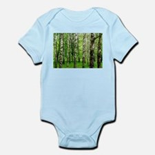 Forest view with birch trees spring summ Body Suit