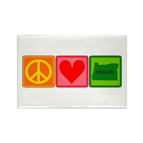Peace Love Oregon Rectangle Magnet