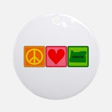 Peace Love Oregon Ornament (Round)