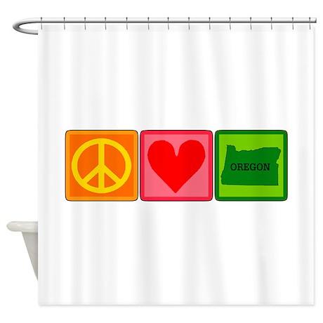 Peace Love Oregon Shower Curtain