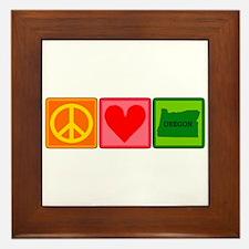 Peace Love Oregon Framed Tile
