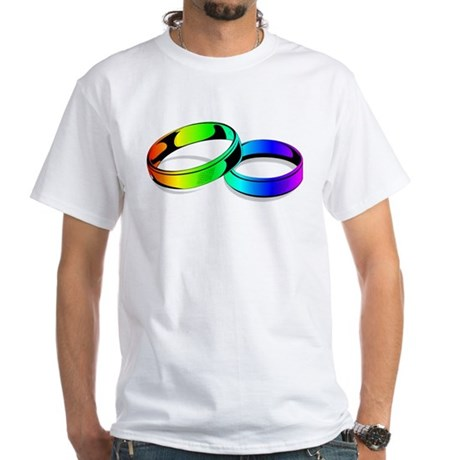 justmarriedrainbowringsblack T-Shirt