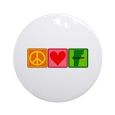 Peace Love Vermont Ornament (Round)