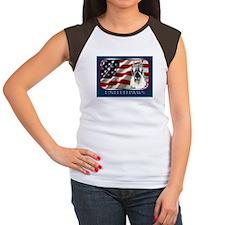 Schnauzer US Flag Patriotic Women's Cap Sleeve T-S
