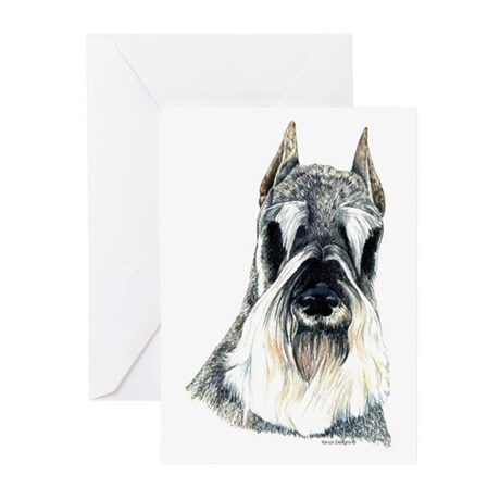 Schnauzer Dog Portrait Greeting Cards (Package of