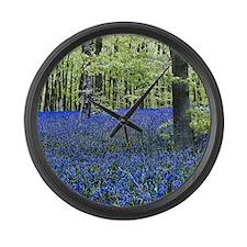 Blue Wildflower Carpet Large Wall Clock