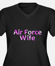 Air Force Wife Pink Camo Women's Plus Size V-Neck
