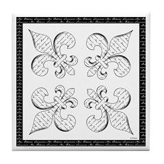 Calligraphy Fleur de lis Tile Coaster
