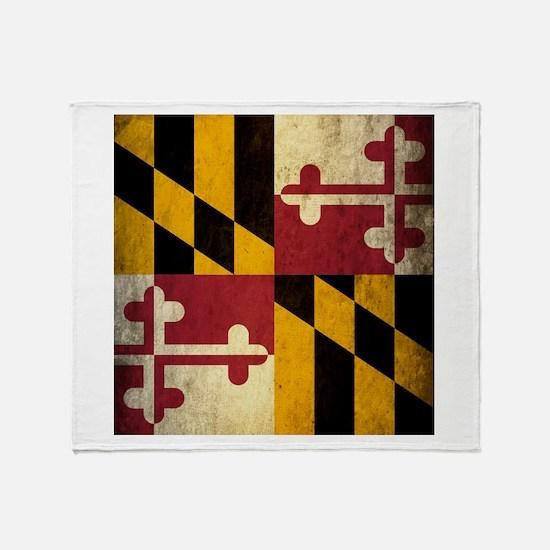 Grunge Maryland Flag Throw Blanket