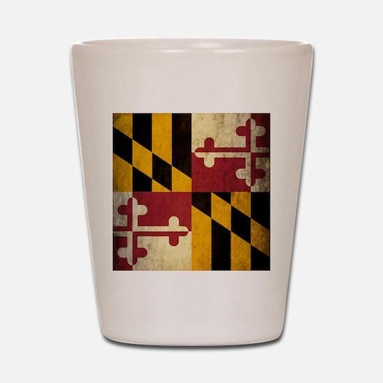 Grunge Maryland Flag Shot Glass