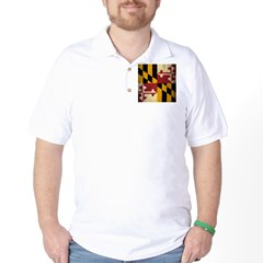 Grunge Maryland Flag Golf Shirt