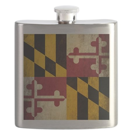 Grunge Maryland Flag Flask
